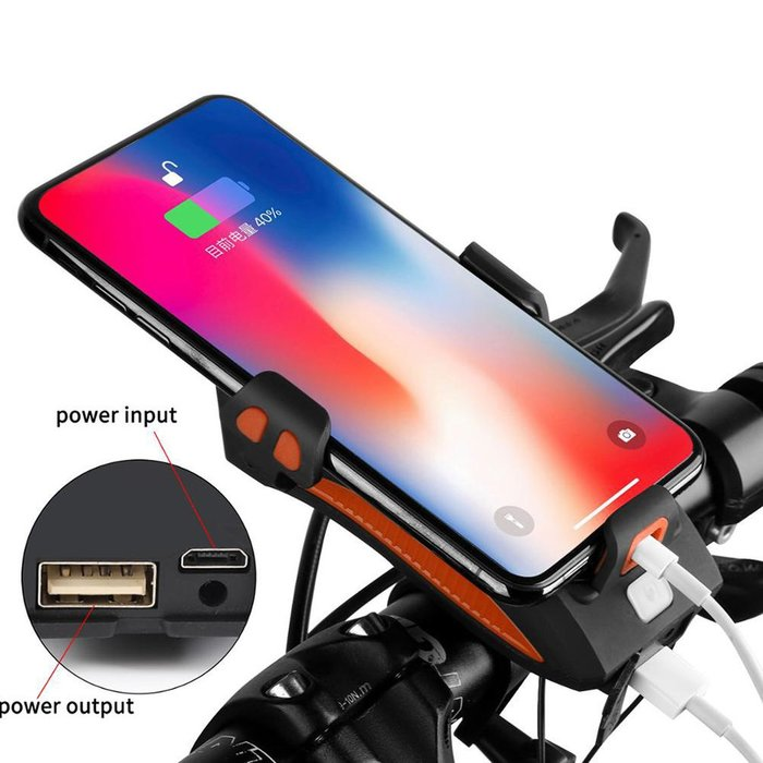 4 in 1 phone holder with bicycle light flashlight bike horn handlebar phone holder cycling including