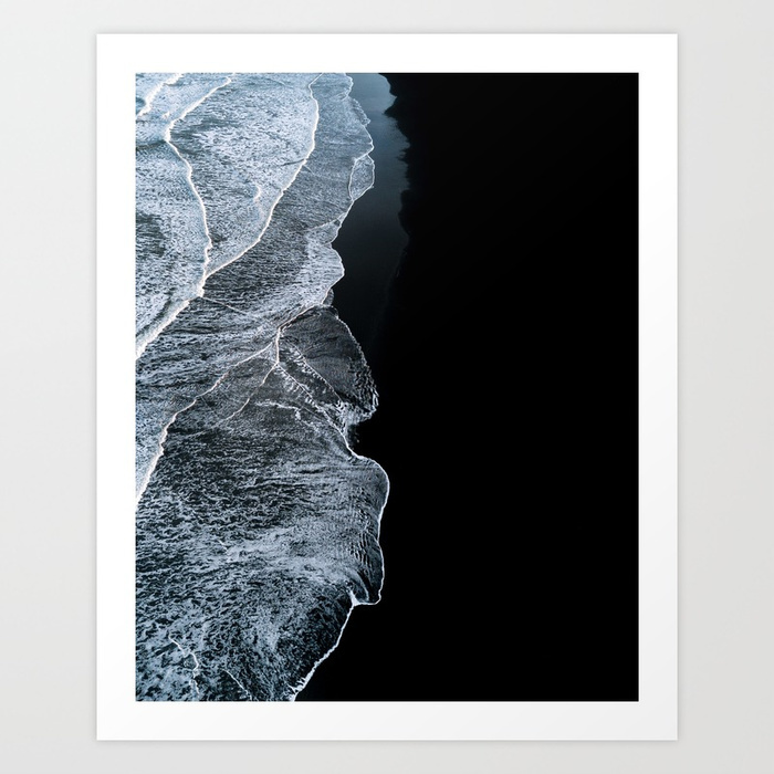 Waves on a black sand beach in iceland minimalist landscape photography prints