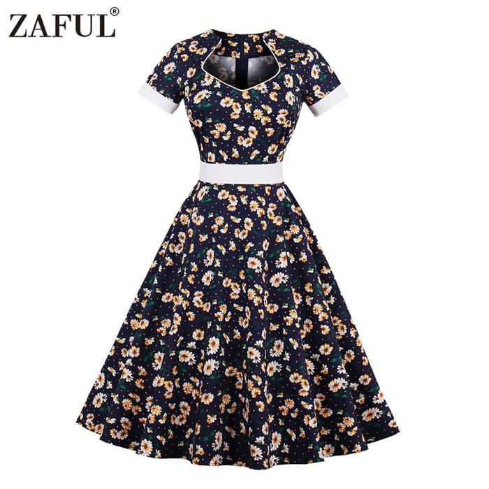 Zaful floral print women vintage dress 2017 summer hepburn 50s robe rockabilly ball gown big swing