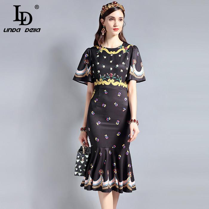 9b6c5c0de5 LD LINDA DELLA Runway Designer Summer Dress Women's Short sleeve ...