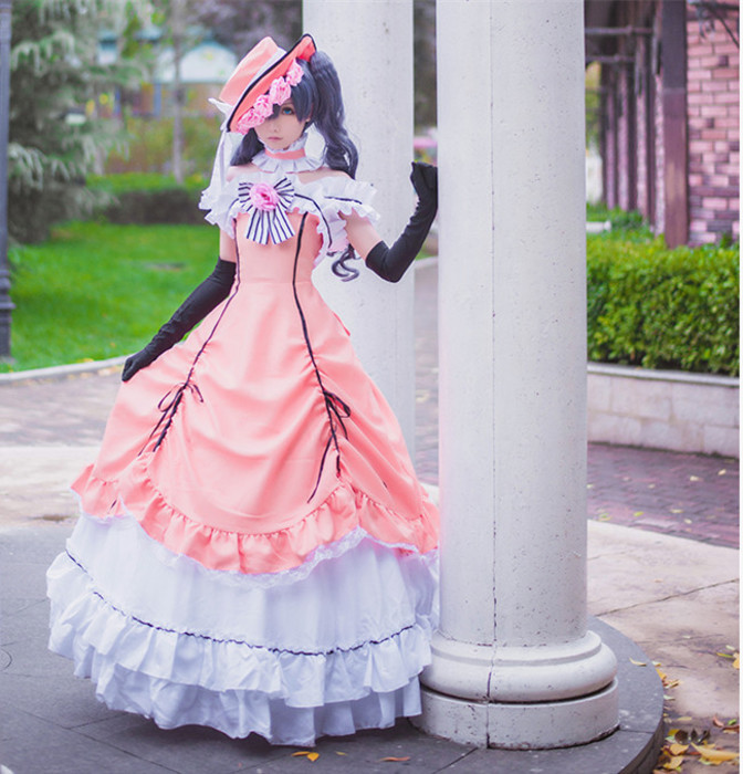 d2466ed79 Anime black butler ciel phantomhive cosplay dress women cosplay costumes  lolita dress dress hat neck accessory