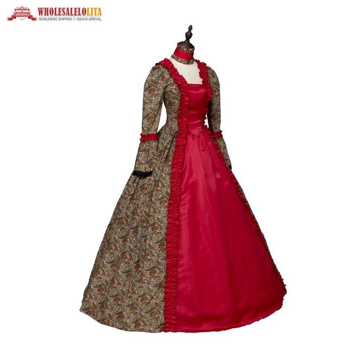 26de6724360 Kemao 2018 top dress red print renaissance georgian gothic dress gown  steampunk reenactment theatrical cosplay costume