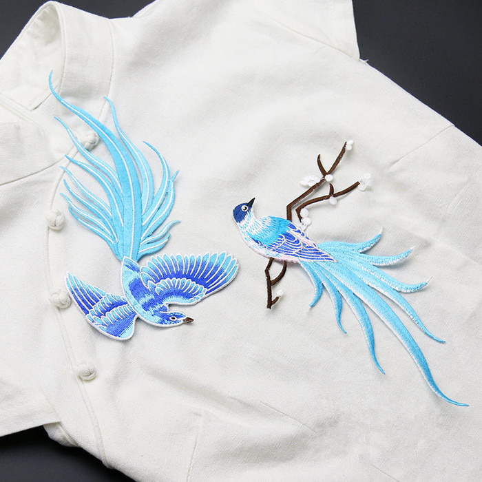 Blue bird of paradise patches lace fabric embroidery patches applique motifs sewing crafts cloth cheongsam ornament