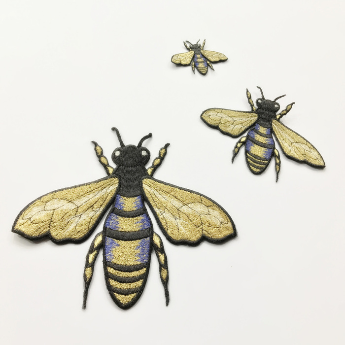 1pcs gold silk embroidery bee patches insects sew on embroidery stickers insect diy bees patch clothing
