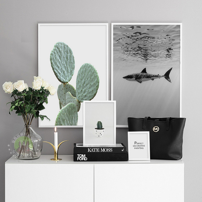 Shark Cactus Canvas Paintings Abstract Nordic Minimalist Wall Art Pictures Poster Print Pop For Living Room Home Decor No Frame In Painting Calligraphy