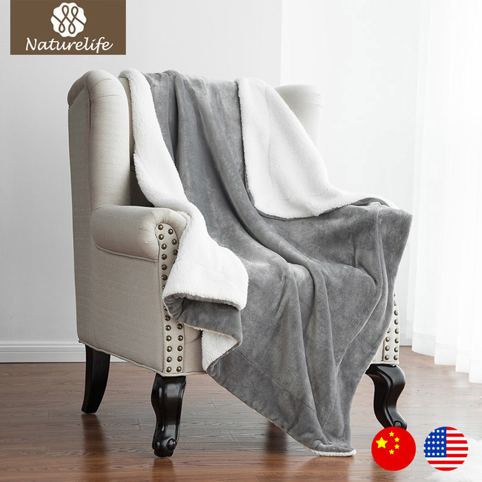 Blanket Warm Soft Fleece Blankets Double Layer Tthrow Thicken Solid Bedspreads