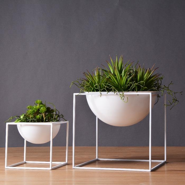 White black modern tabletop vase metal square flower plant pot tray cube pergola garden planting flower