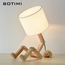 Thumb botimi european style table lamp wooden bedside with fabric lampshade lamparas de mesa desk light deco