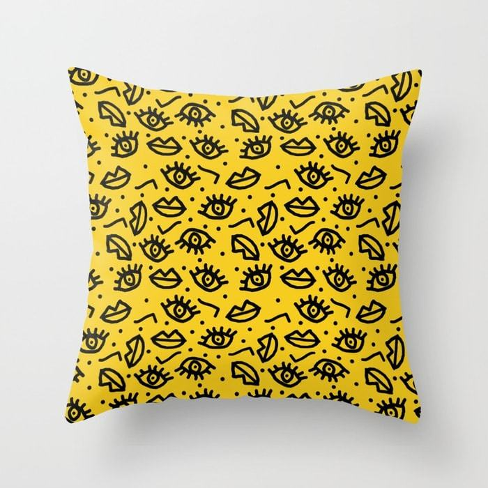 Face time retro throwback minimal pattern eyes faces 1980s 80s vintage memphis drawing monochrome pillows