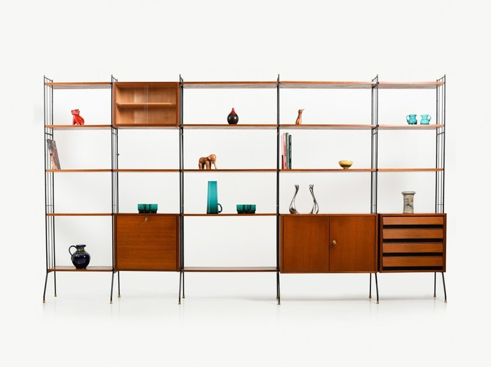 Teak shelf system with bar early 1950s