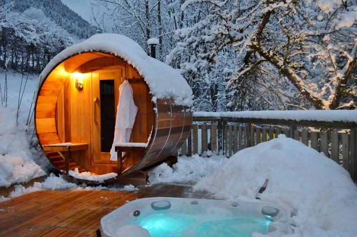 Barrel sauna in snow