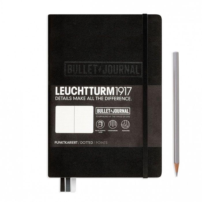 Bullet journal notebook medium a5 hardcover 240 numbered pages dotted black