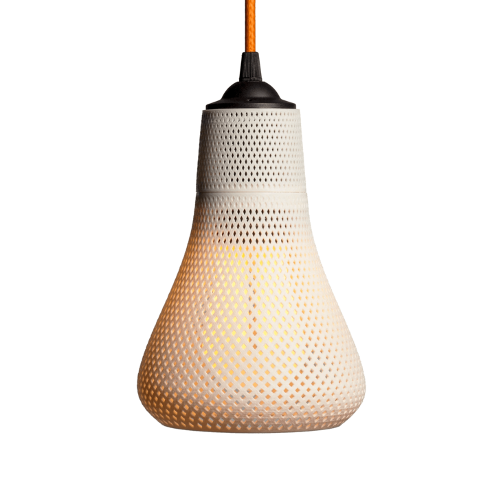 3d printed designer lamp shade kayan formalized with plumen dimmable light bulb led 756f2f26 0a8e 46e3 bdcc 0ec23b011738